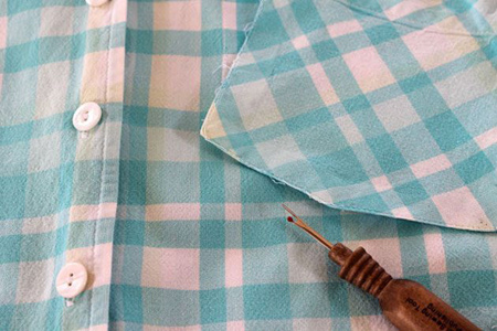 آموزش تصویری دوخت پیش بند با پیراهن مردانه