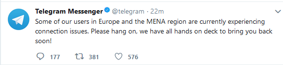 قطعی تلگرام امروز دوشنبه 14 اسفند 1396